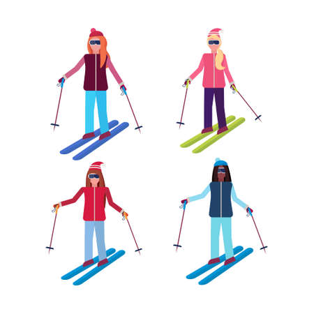 set women skiing sport activities mix race girls wearing goggles ski suit female carton character collection sportswomen on skis full length flat isolated vector illustration