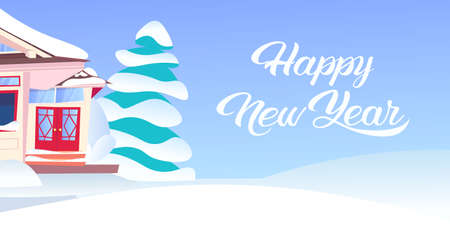 wooden snow cowered cottage happy new year merry christmas holidays decorations concept snowy fir tree flat horizontal vector illustration Stock Photo