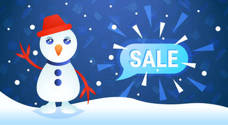 merry christmas happy new year holiday big sale concept waving snowman character chat bubble special offer promotion flat vector illustration