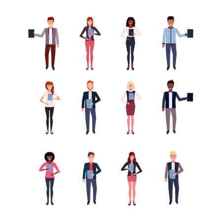 set mix race business people holding folder happy man woman office workers collection male female cartoon character full length isolated flat vector illustration