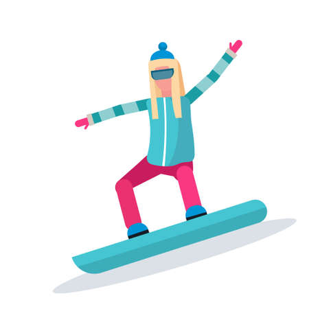 Snowboarder woman sliding down winter sport activities lady wearing goggles female carton character sportswoman snowboarding full length flat isolated vector illustration