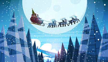 santa claus flying in sledge with reindeers night sky over moon merry christmas happy new year horizontal winter holidays concept flat vector illustration