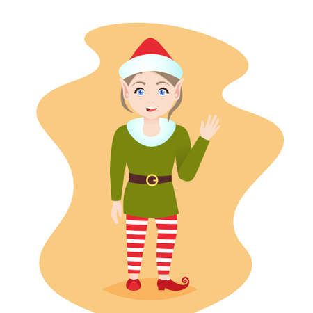cute waving elf girl santa claus helper wear red hat merry christmas happy new year holiday celebration concept flat vector illustration Stock Photo