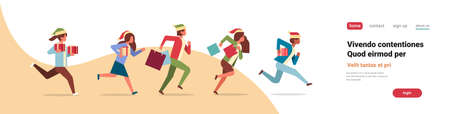 business people running hold present gift box new year christmas holidays celebration concept flat horizontal banner copy space vector illustration
