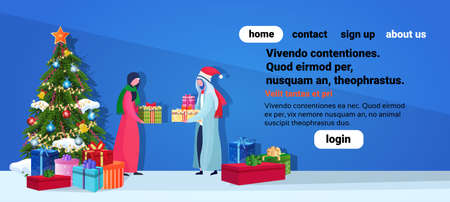 arabic couple giving present each other happy new year merry christmas concept flat fir tree decoration blue background full length horizontal copy space vector illustration Illustration