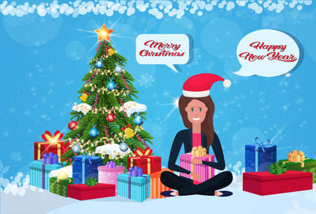 woman sitting lotus pose fir tree gift box decoration new year merry christmas concept flat chat bubble communication horizontal vector illustration