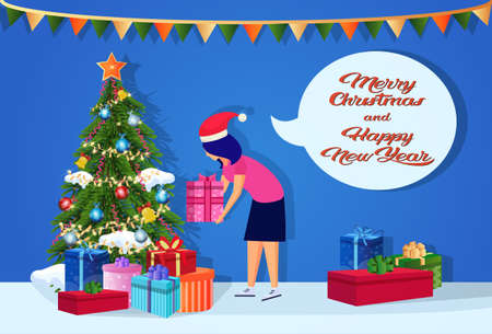woman wearing hat putting gift box under fir-tree happy new year merry christmas concept chat bubble female cartoon character profile full length horizontal vector illustration Illustration