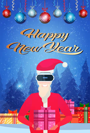 Santa claus wear digital virtual reality glasses hold present box merry christmas happy new year concept forest landscape flat vertical vector illustration