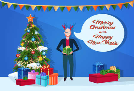 man wearing deer horns holding gift box chat bubble fir tree happy new year merry christmas concept flat horizontal inscription vector illustration