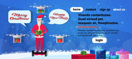 santa claus ride electric scooter drone delivery service new year merry christmas concept chat bubble communication full length horizontal copy space vector illustration Illustration