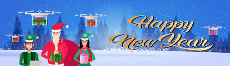 santa claus man woman elf helper holding gift box drone fast delivery new year merry christmas concept winter forest landscape portrait horizontal banner vector illustration Stock Photo