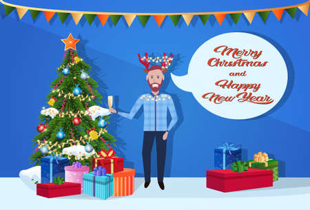 man holding gift box champagne deer horns hat chat bubble happy new year merry christmas concept flat horizontal inscription vector illustration
