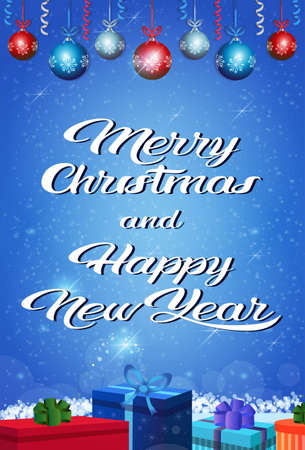 happy new year merry christmas concept gift box holiday bolls decoration lettering flat vertical greeting card vector illustration Stock Photo