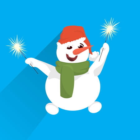 snowman wear red hat hold wrapped gift box present stack merry christmas happy new year holiday concept flat vector illustration