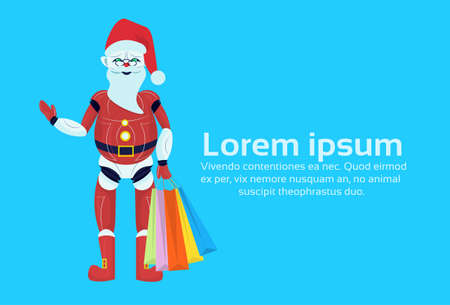 santa claus robot merry christmas happy new year holiday concept flat isolated vector illustration