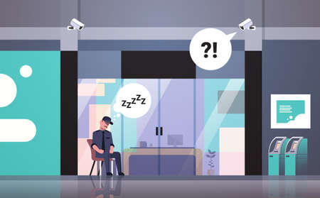 security guard man sleeping at workplace entrance door business building exterior CCTV surveillance camera chat bubble worker uniform resting on armchair flat horizontal vector illustration