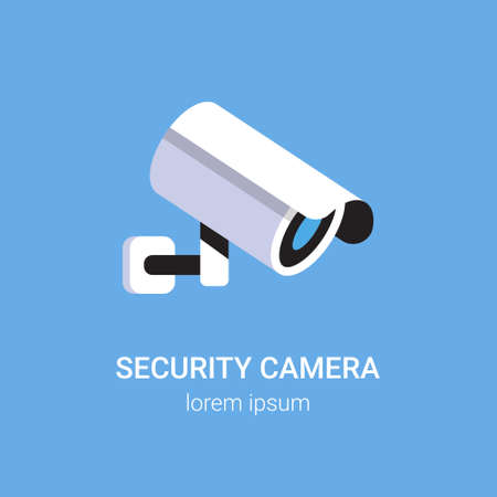 CCTV surveillance system security camera monitoring equipment on wall professional guard concept blue background flat copy space vector illustration