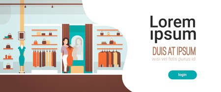business woman trying on new dress elegant woman looking at mirror fashion shop female clothes market modern shopping mall interior flat horizontal copy space vector illustration