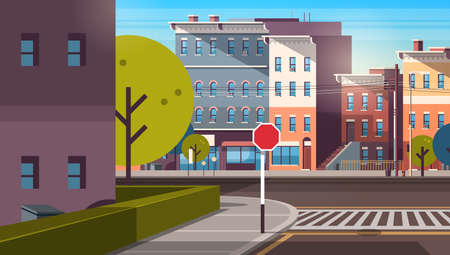 city street building houses architecture empty downtown road urban cityscape early morning sunrise horizontal flat vector illustration