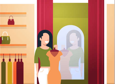 business woman trying on new dress elegant woman looking at mirror fashion shop female clothes market modern shopping mall interior flat horizontal vector illustration Çizim