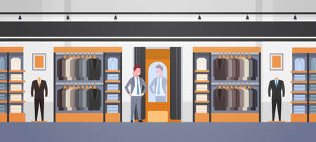 businessman trying on new business suit elegant man looking at mirror fashion shop male clothes market modern shopping mall interior flat horizontal vector illustration