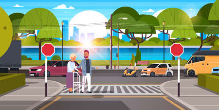 man help senior woman with walking stisk crossing street urban city traffic cars on road crosswalk river green trees wooden benches cityscape background horizontal flat vector illustration
