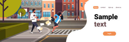 tired business woman running crosswalk pushing man with coffee cup city street road buildings background horizontal flat vector illustration Banco de Imagens - 126954477