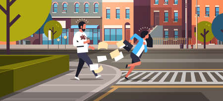 tired business woman running crosswalk pushing man with coffee cup city street road buildings background horizontal flat vector illustration
