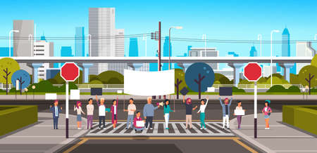 people crowd holding placard and megaphone on crosswalk modern city street skyscraper downtown road urban cityscape background protesting concept horizontal vector illustration