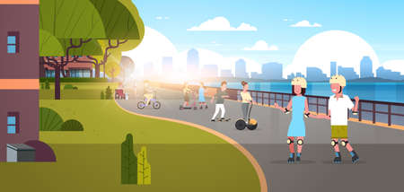 people riding bicycle roller-skates skateboard in modern city quay urban cityscape skyscrapers background active holiday relax horizontal banner flat vector illustration Illustration