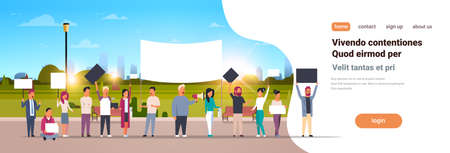 people group holding placards and megaphone cityscape background protesting concept horizontal copy space vector illustration