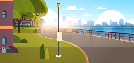modern city empty quay urban cityscape skyscrapers background view of road river and downtown early morning sunrise horizontal banner flat vector illustration Vector Illustratie