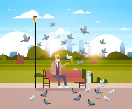senior man feeding flock of pigeon sitting wooden bench urban city park cityscape background horizontal flat vector illustration Banque d'images - 113677787