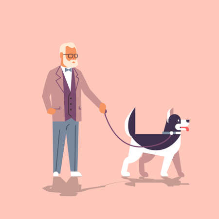 senior man walking with husky dog grandfather with his animal pet best friend concept flat cartoon character full length vector illustration