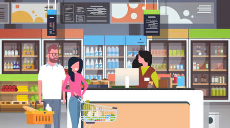 retail woman cashier at checkout supermarket couple customers holding basket with food shopping concept grocery market interior flat horizontal vector illustration Illustration