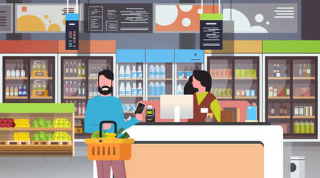 retail woman cashier at checkout supermarket man customer holding basket food paying smartphone shopping concept grocery market interior flat horizontal vector illustration