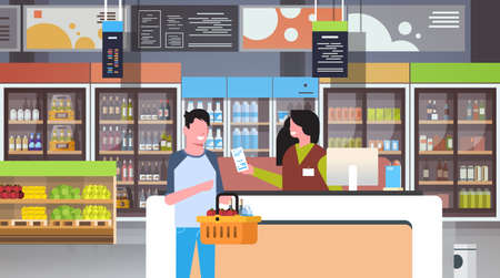 retail woman cashier at checkout supermarket giving receipt bill man customer holding basket with food shopping concept grocery market interior flat horizontal vector illustration