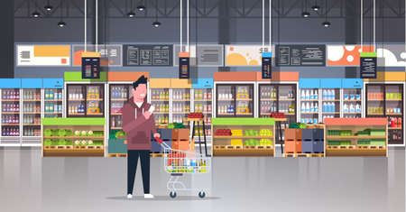 supermarket man customer checking shopping list carrying trolley cart male shopper buying products grocery market interior flat horizontal vector illustration