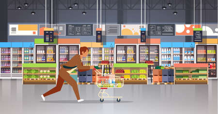 running business man customer with shopping trolley cart busy male shopper buying products grocery market interior flat horizontal vector illustration Stock Illustratie