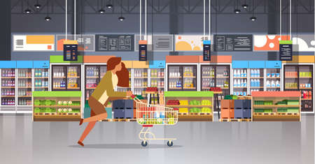 running business woman customer with shopping trolley cart busy female shopper buying products grocery market interior flat horizontal vector illustration Stock Illustratie