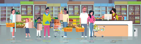 retail woman cashier at checkout supermarket mix race customers holding basket with food standing line queue shopping concept grocery market interior flat horizontal vector illustration