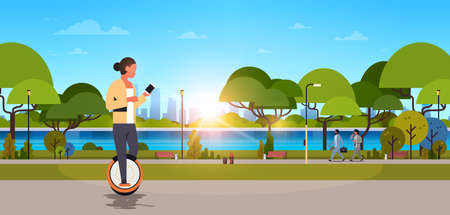 woman ride electric mono wheel using smartphone girl modern personal transport outdoor nature city urban park cityscape sunset background horizontal flat vector illustration