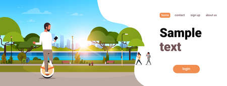 man ride electric mono wheel using smartphone guy modern personal transport outdoor nature city urban park cityscape sunset background horizontal copy space flat vector illustration  イラスト・ベクター素材