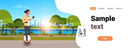 woman ride electric mono wheel using smartphone girl modern personal transport outdoor nature city urban park cityscape sunset horizontal copy space vector illustration Illustration