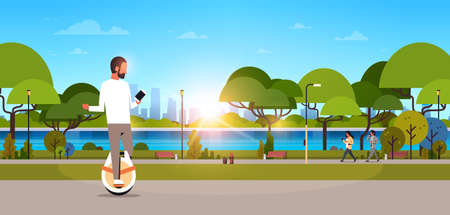 man ride electric mono wheel using smartphone guy modern personal transport outdoor nature city urban park cityscape sunset background horizontal banner flat vector illustration
