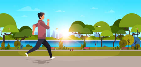 young man jogging outdoors modern public park guy in headphones running sport activity concept cityscape sunset background horizontal banner flat vector illustration Illustration