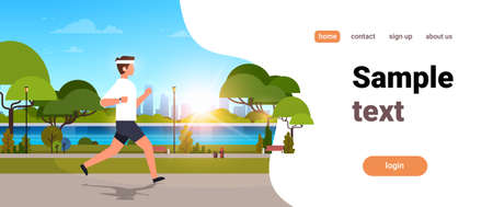 young man jogging outdoors modern public park guy in headphones running sport activity concept cityscape sunset background horizontal banner copy space vector illustration Illustration