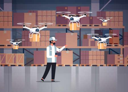 uomo corriere tenere telecomando wireless pacco droni consegna aerea moderno sistema logistico trasporto veloce concetto cargo elicottero servizio di posta magazzino interno orizzontale vettore illustrazione Vettoriali