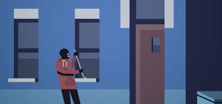 burglar in black mask using crowbar breaking entering into home criminal thief character trying to force window night city building exterior flat horizontal vector illustration