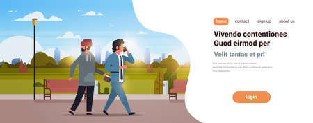 criminal male thief pickpocket stealing a wallet from pocket phone calling busy businessman walking urban park danger burglary concept flat copy space vector illustration